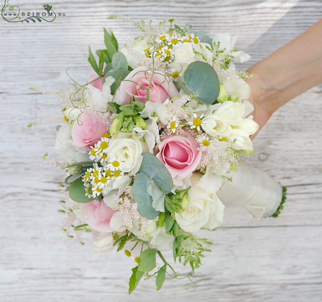 bridal bouquet (roses, astilbe, chamomilla, white, pink )
