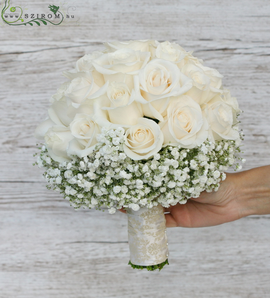 bridal bouquet (rose, baby breath, cream )
