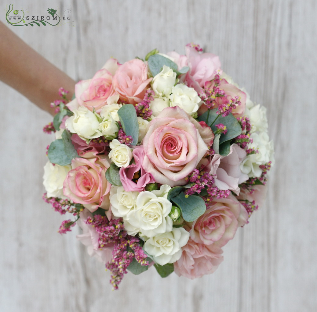 bridal bouquet (roses, spray roses, lizianthus, white, pink )