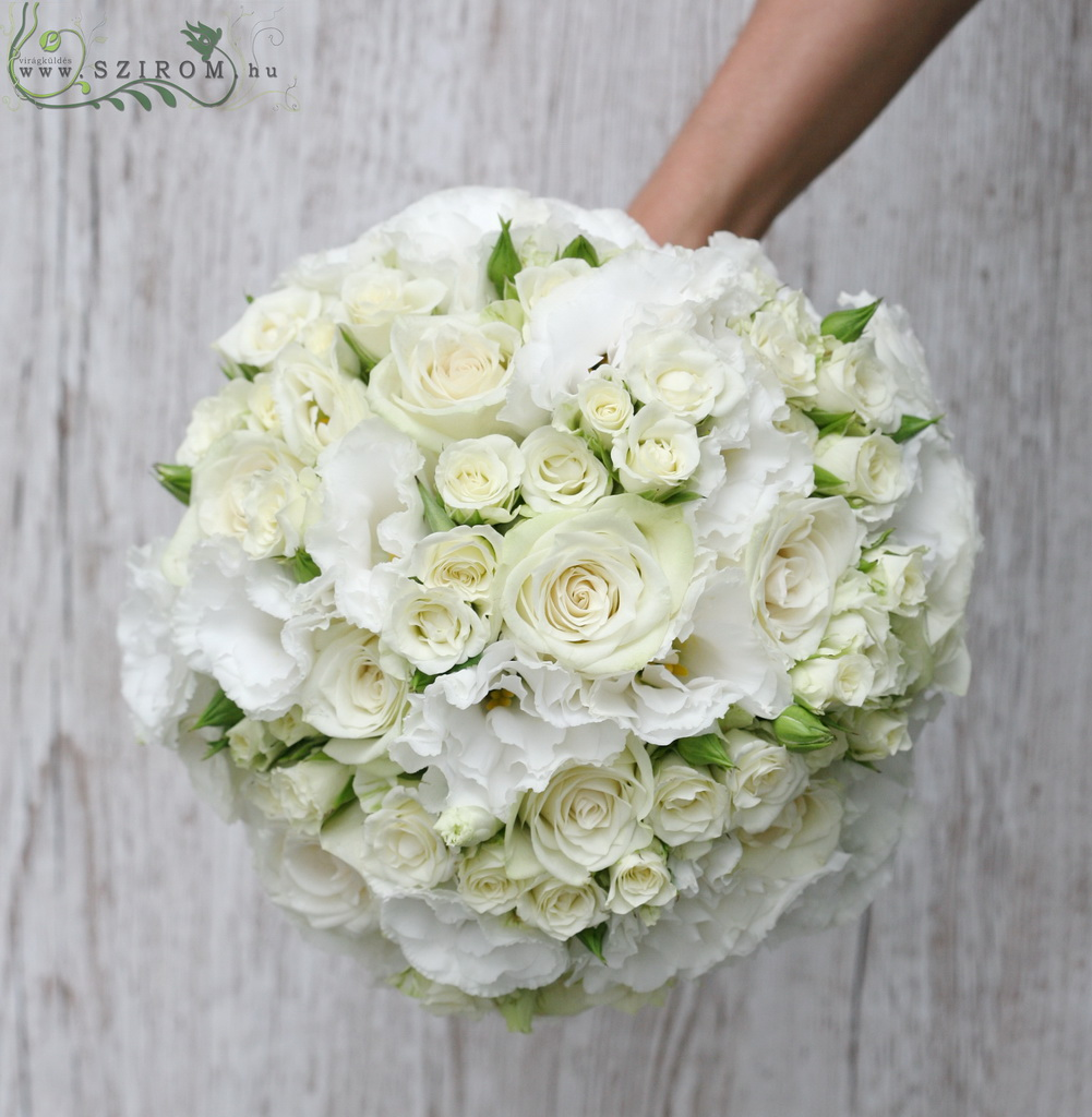 bridal bouquet (rose, lizianthus, spray roses, white)