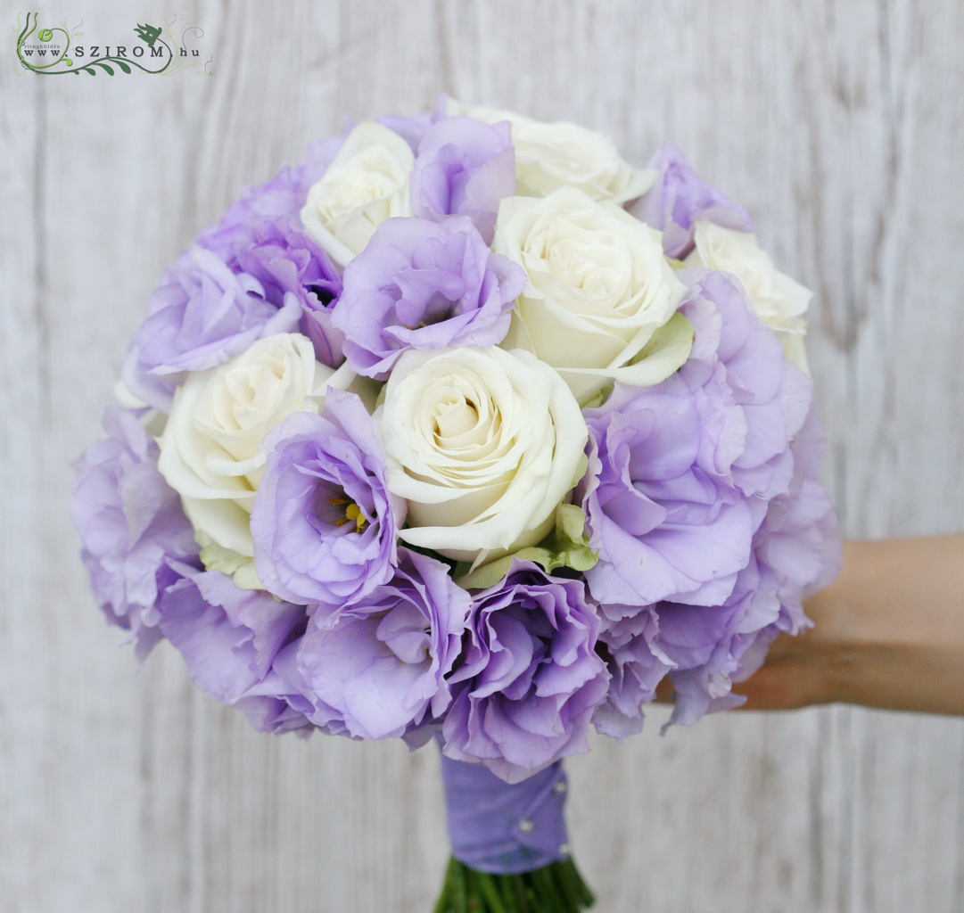 bridal bouquet (rose, lizianthus, purple, white)