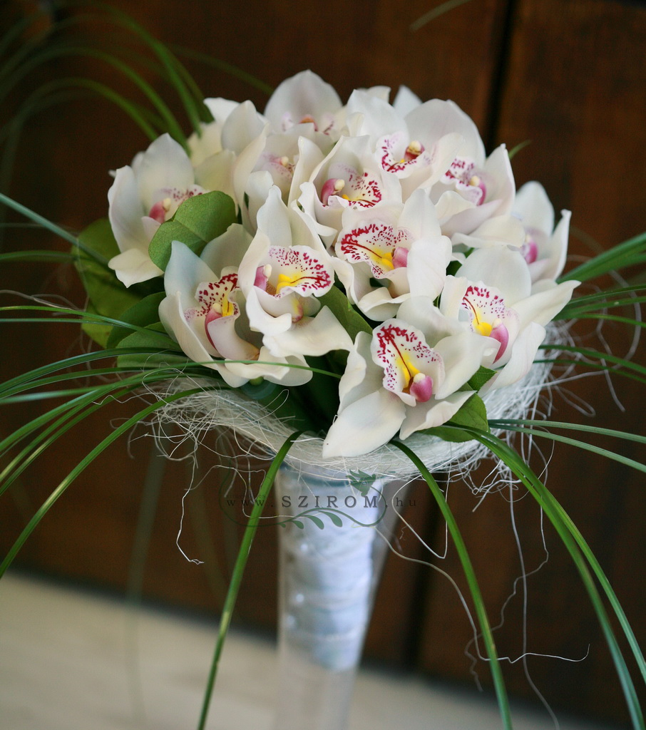 bridal bouquet ( cymbidium orchid, white)
