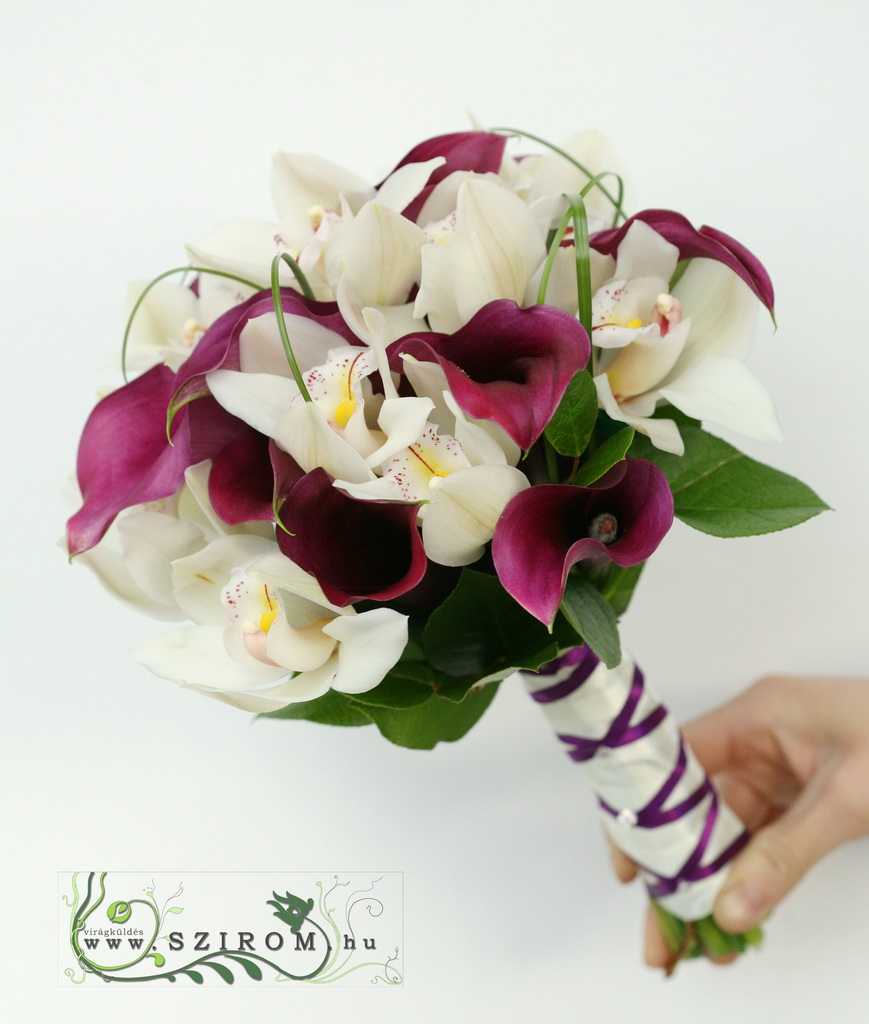 bridal bouquet (cymbidium orchid, calla)