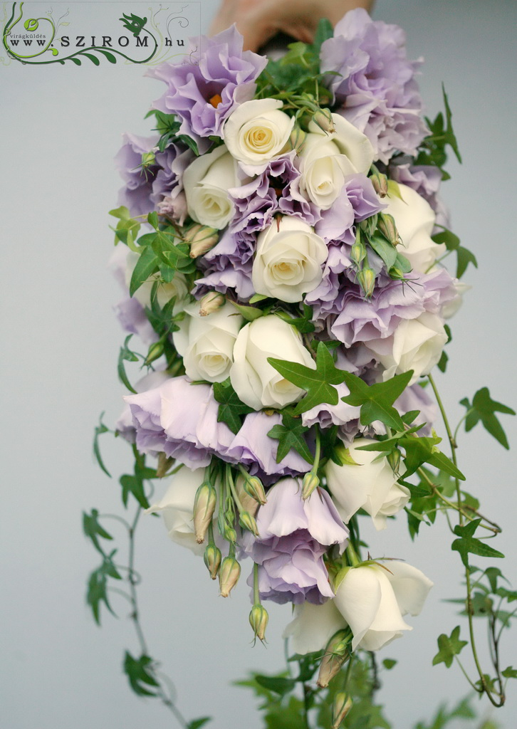 bridal bouquet ( lisianthus, rose, white, purple)