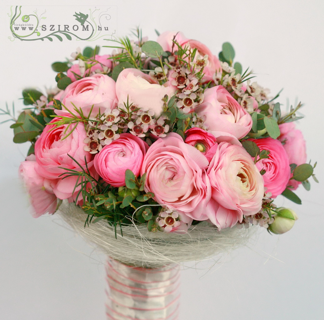 bridal bouquet (buttercup, wax, pink)
