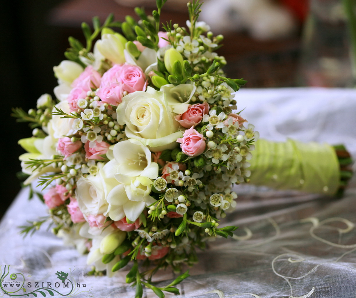 bridal bouquet (rose, freesia, wax, white, pink)