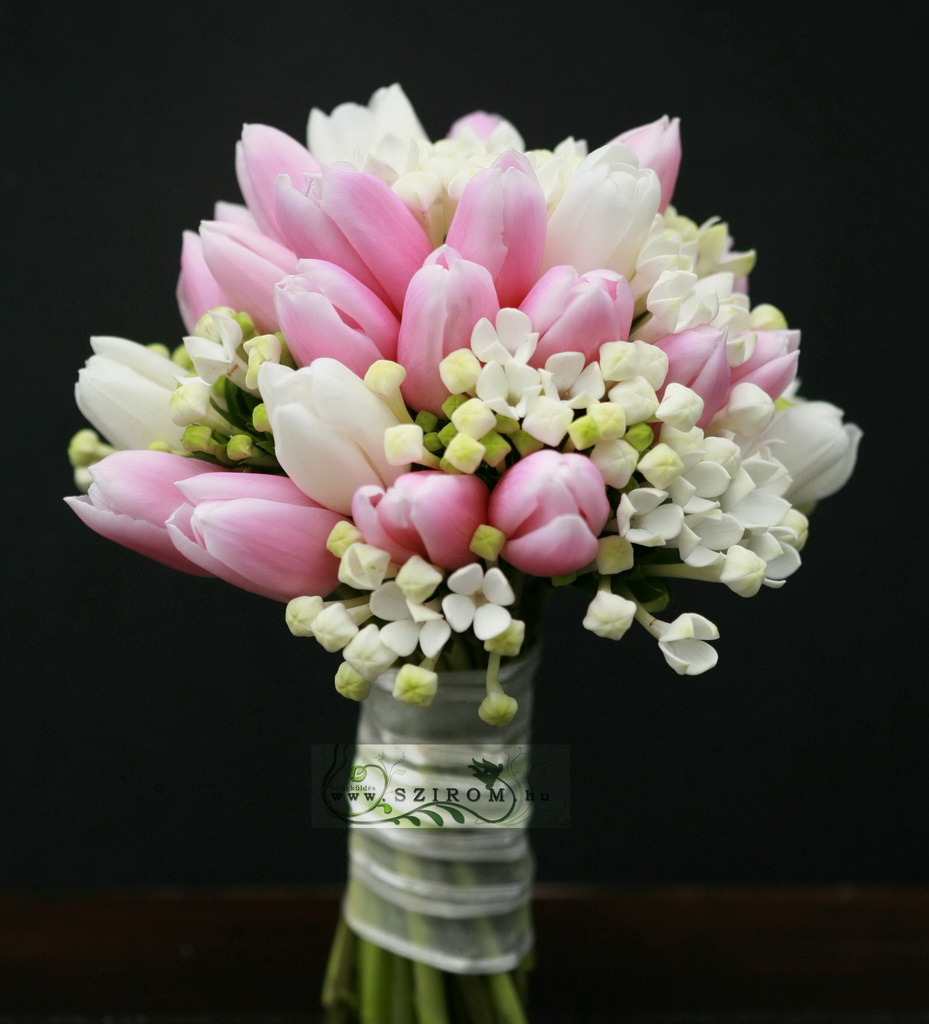 bridal bouquet of bouvardisand tulips (pink, cream)