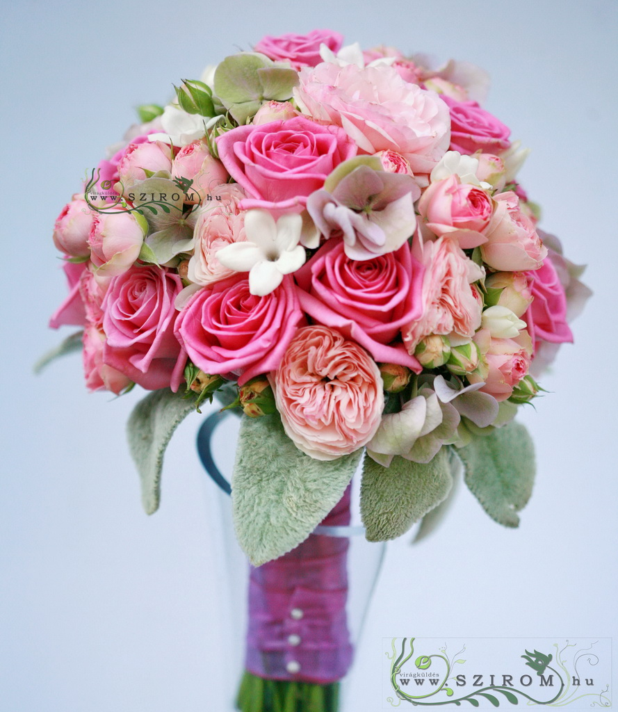 bridal bouquet (hortensia, english rose, rose, stephanotis, pink)