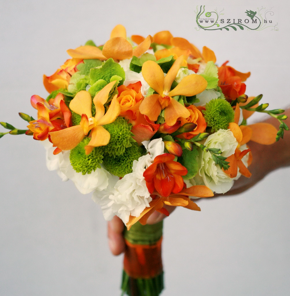 bridal bouquet (rose, hydrangea, green button, freesia, mokara orchid, orange, green, white)