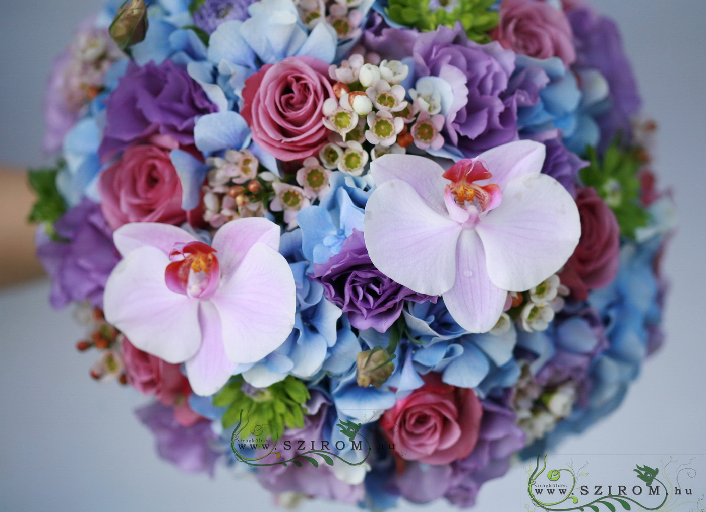 bridal bouquet (hortensia, lisianthus, rose, wax, phalaenopsis)Blue, pink