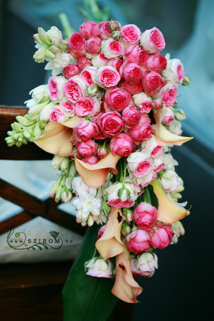 bridal bouquet (calla, english roses, tuberose, pink)