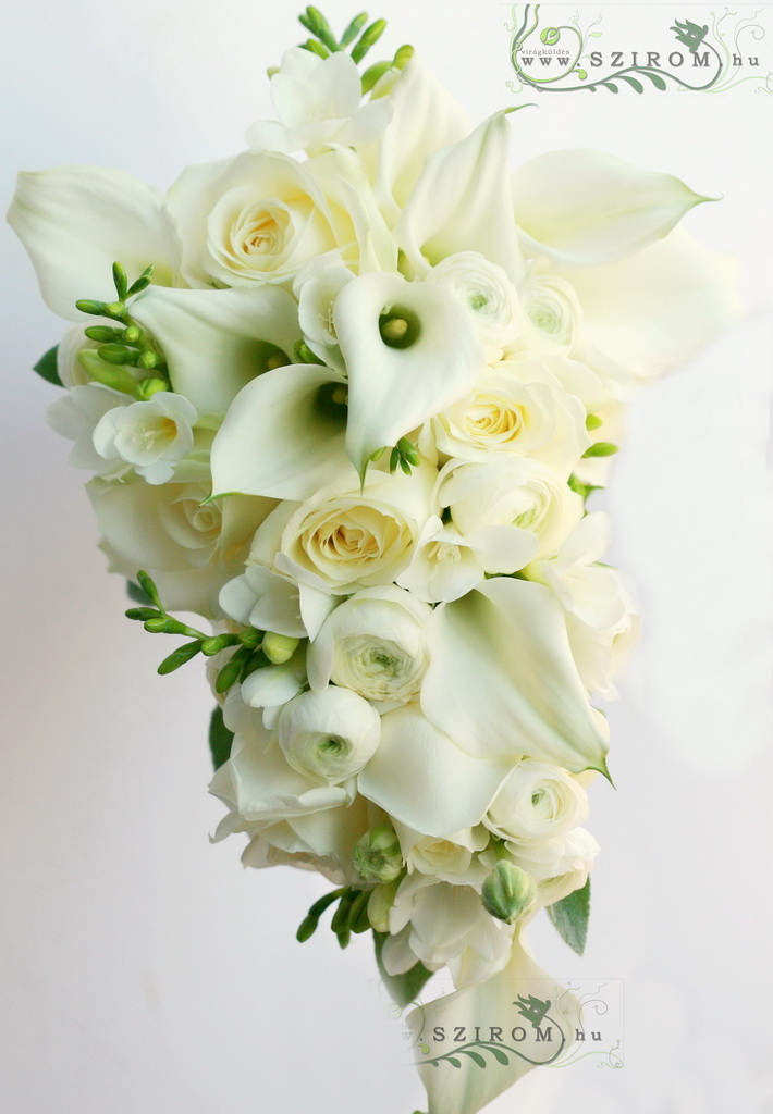 bridal bouquet (calla, fresia, rose, buttercup, white)