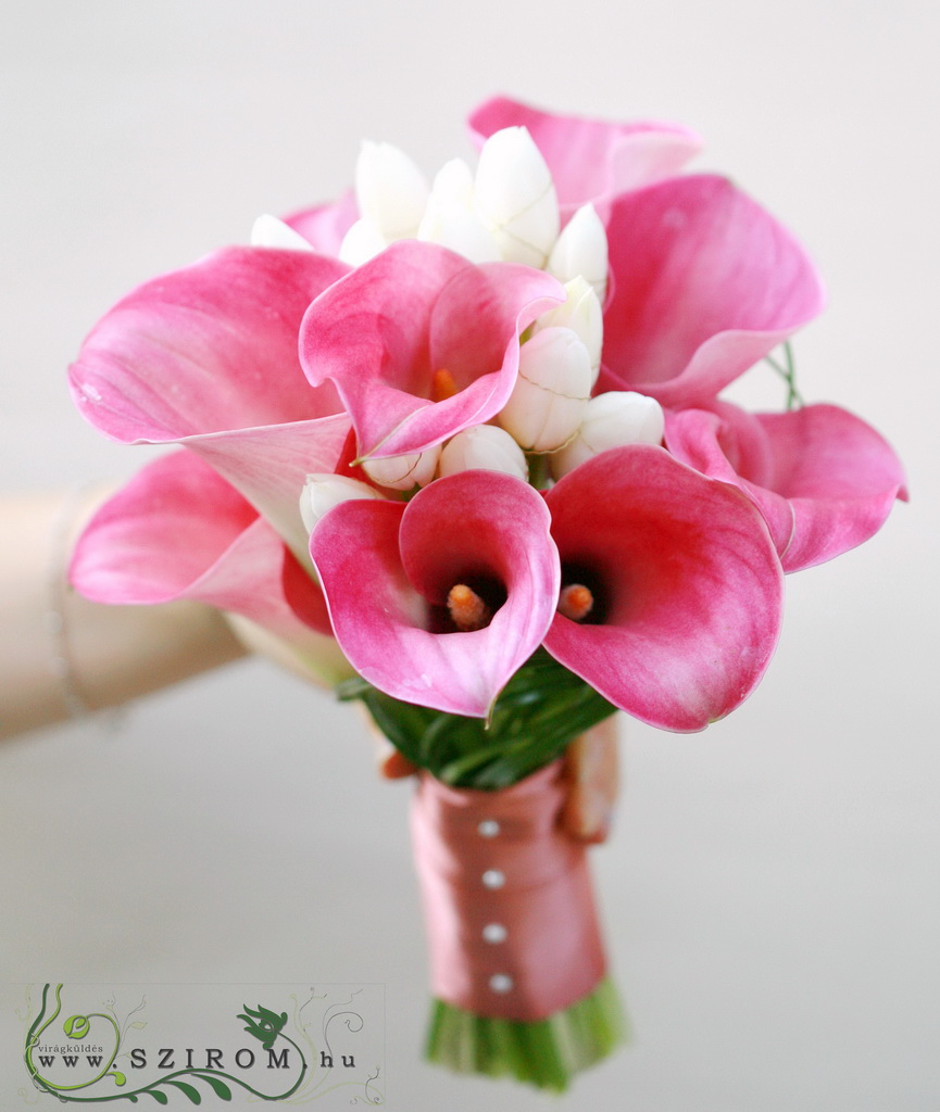 bridal bouquet (calla, tulip, white, pink)