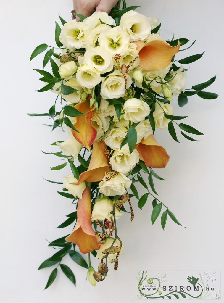 bridal bouquet (calla, lisianthus, spider orchid, cream, orange)
