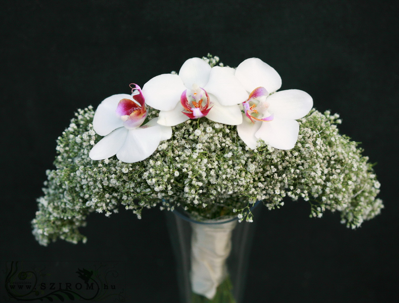 bridal bouquet (baby's beath, phalaenopsis orchid, white)