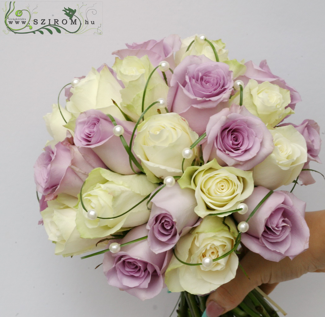 bridal bouquet (rose, white, purple)