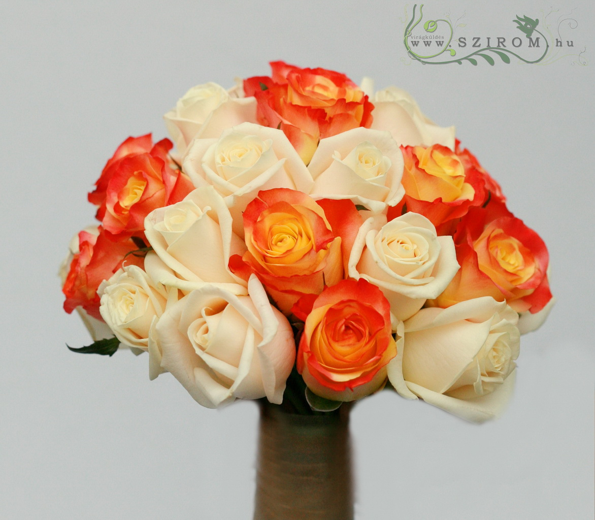 bridal bouquet (rose, cream, orange)