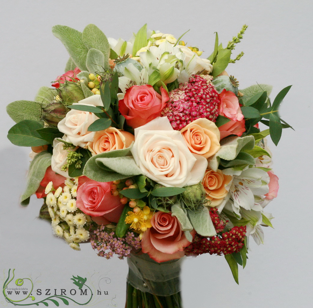 bridal bouquet (rose, alstromeria, matricaria, summer wildflowers, orange, cream, white, peach)