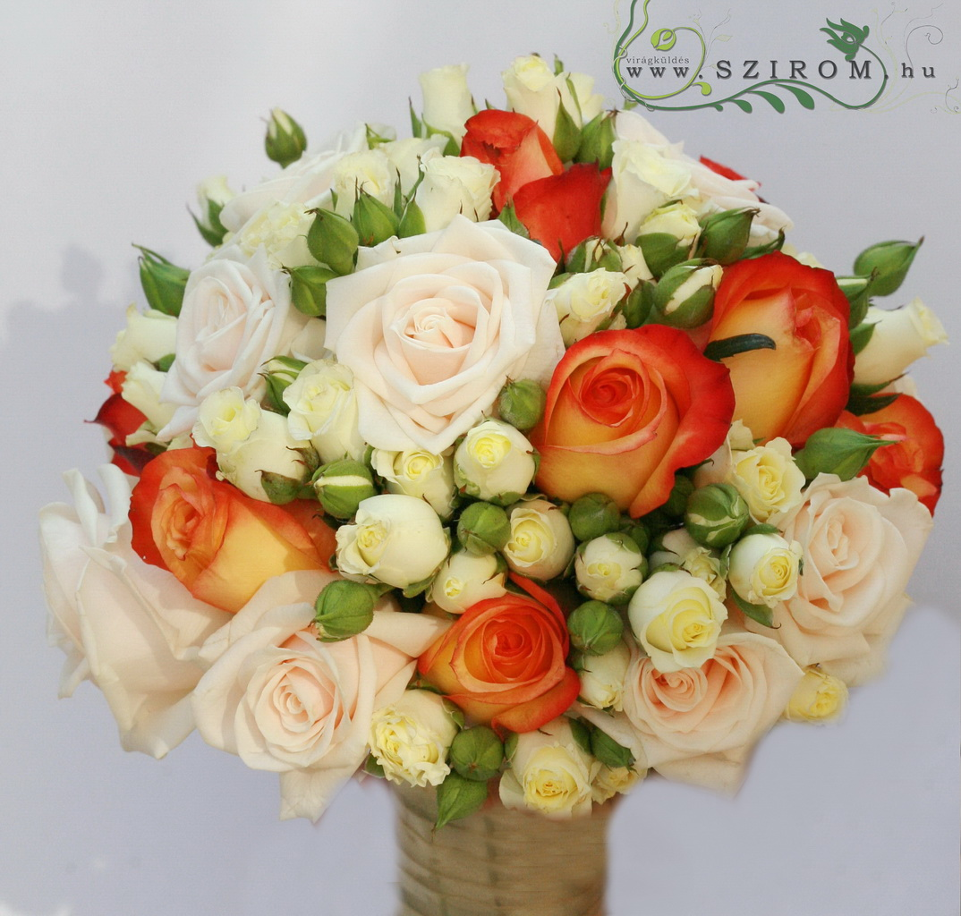 bridal bouquet (rose, spray rose, orange, peach)