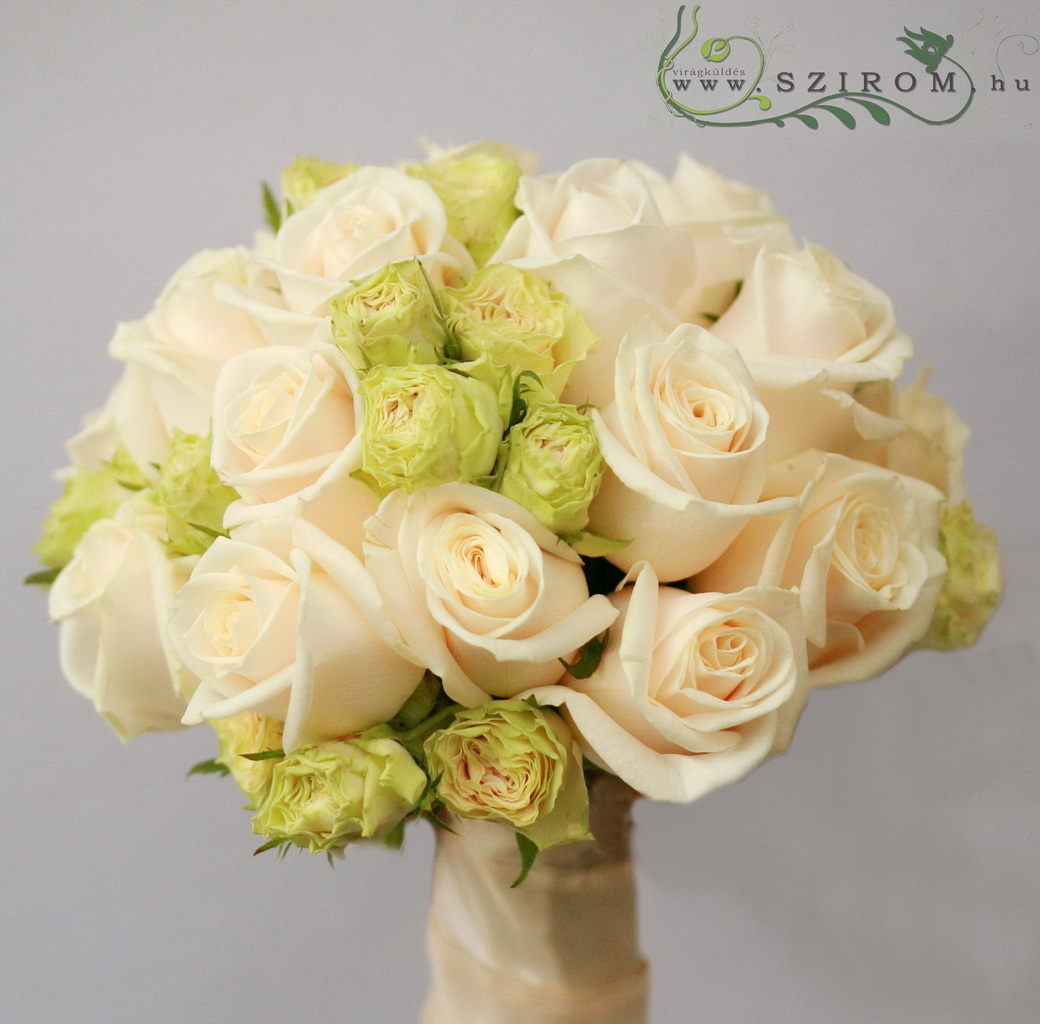 bridal bouquet (rose, spray rose, cream, green)