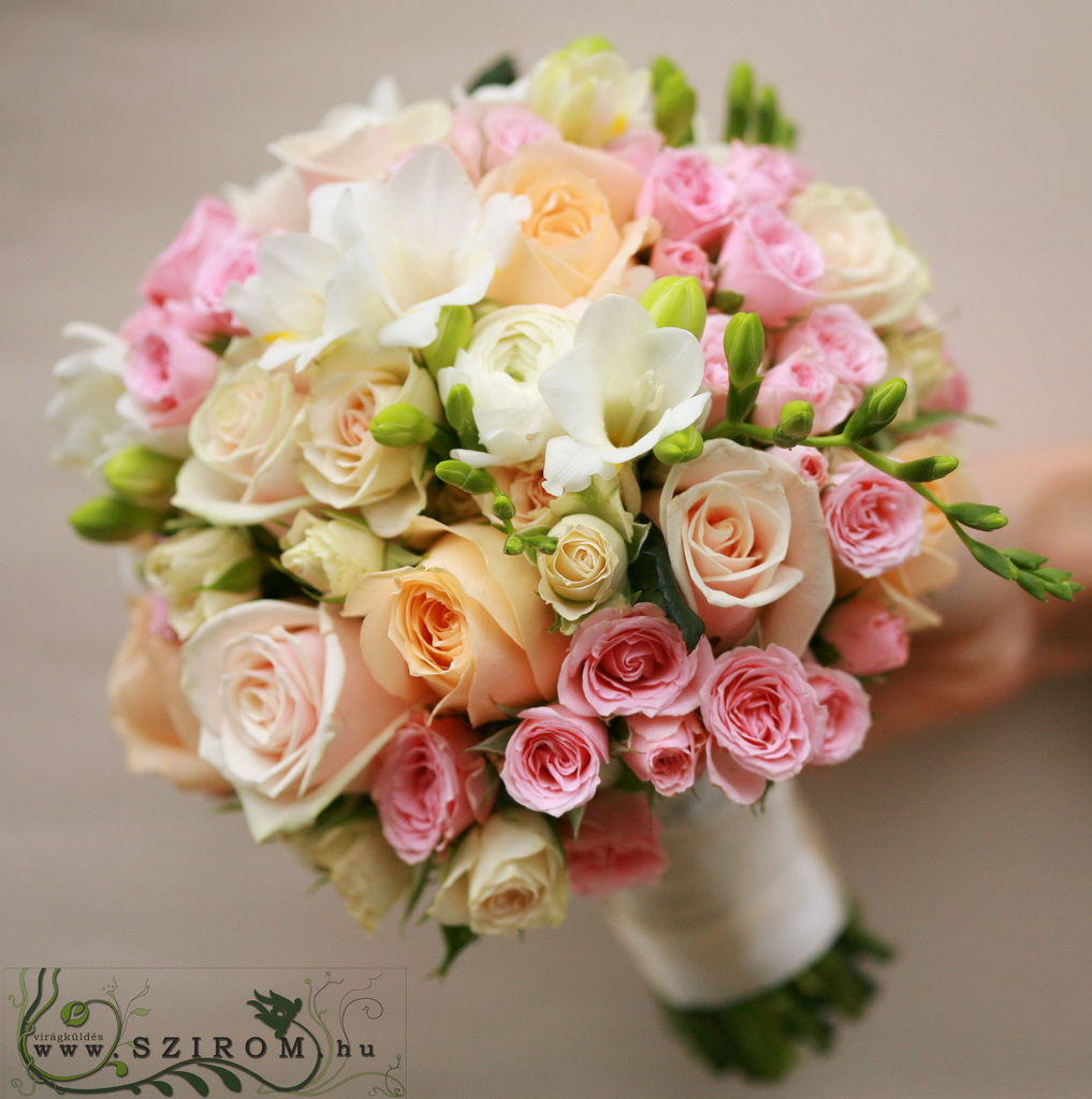 bridal bouquet (rose, spray rose, buttercup, freesia, white, peach,pink)