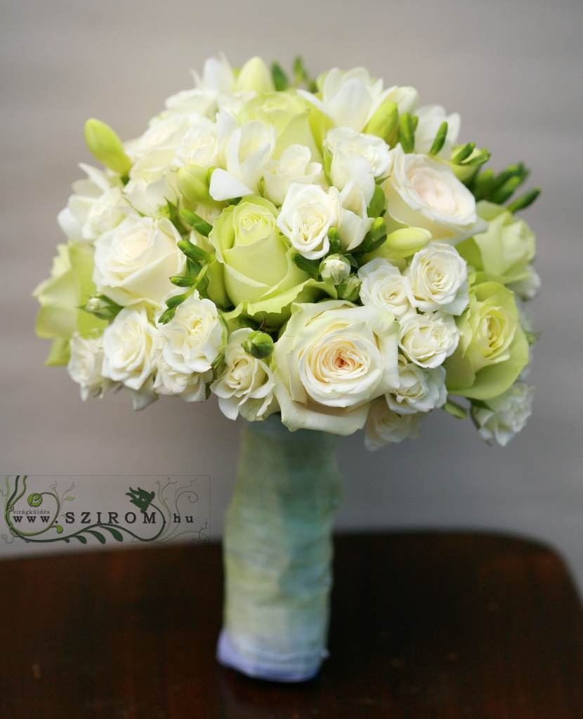 bridal bouquet (rose, ospray rose, freesia, white)