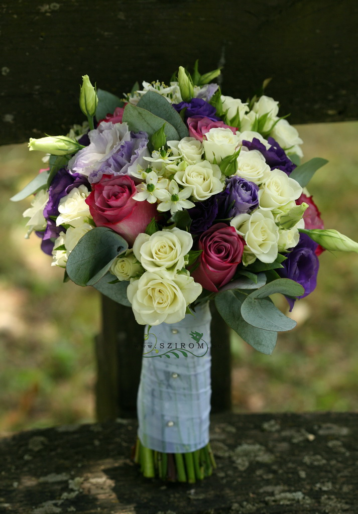 bridal bouquet (rose, spray rose, lisianthus, ornithogalum, white, purple, pink)