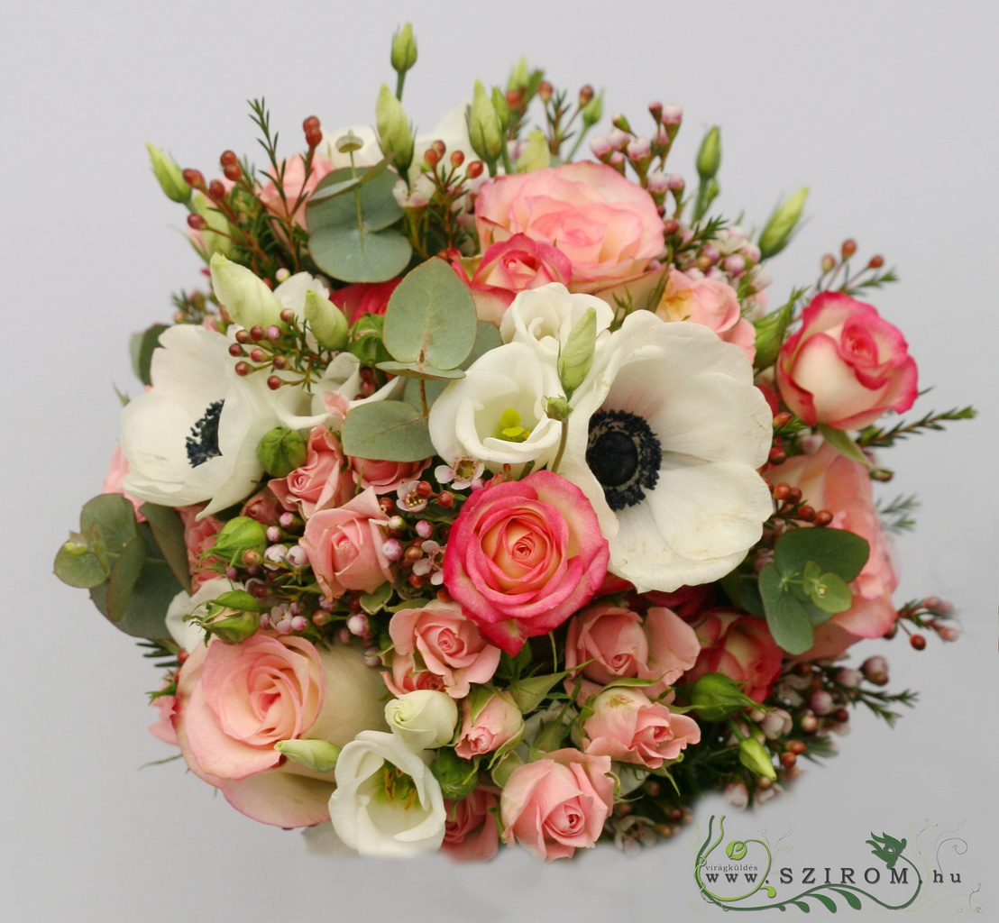 bridal bouquet (rose, spray rose, wax, lisianthus, anemone)