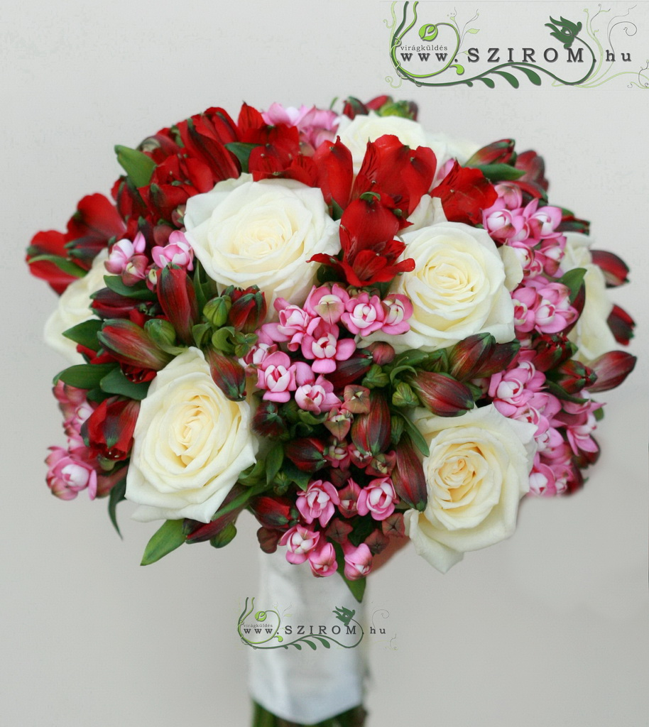 bag of red roses (rose, alstromeria, bouvardia, red, pink)