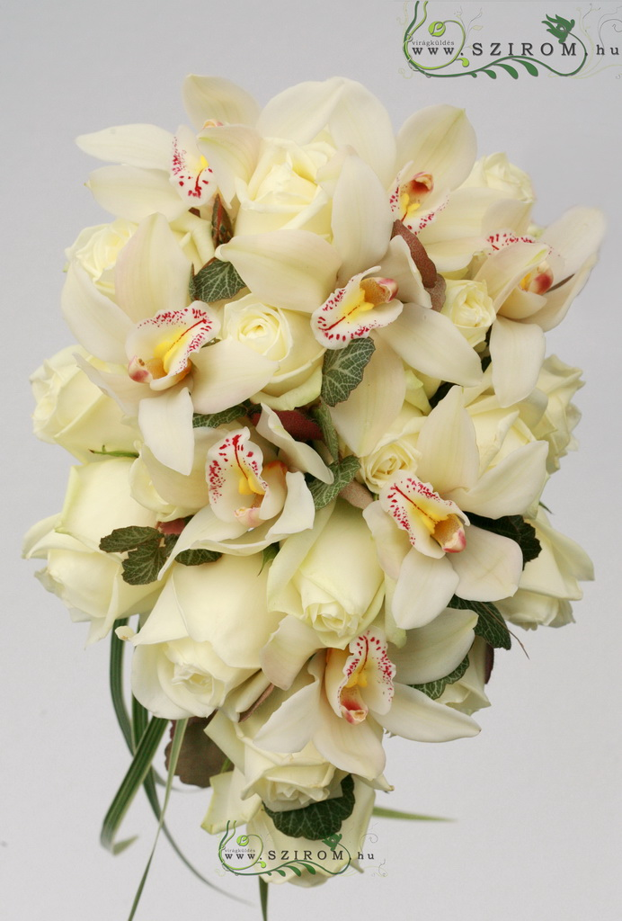 bridal bouquet (rose, cymbidium orchid, white, cream)