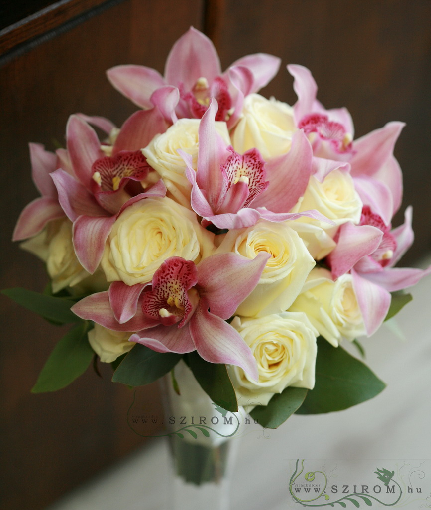 bridal bouquet (rose, cymbidium orchid, white, pink)