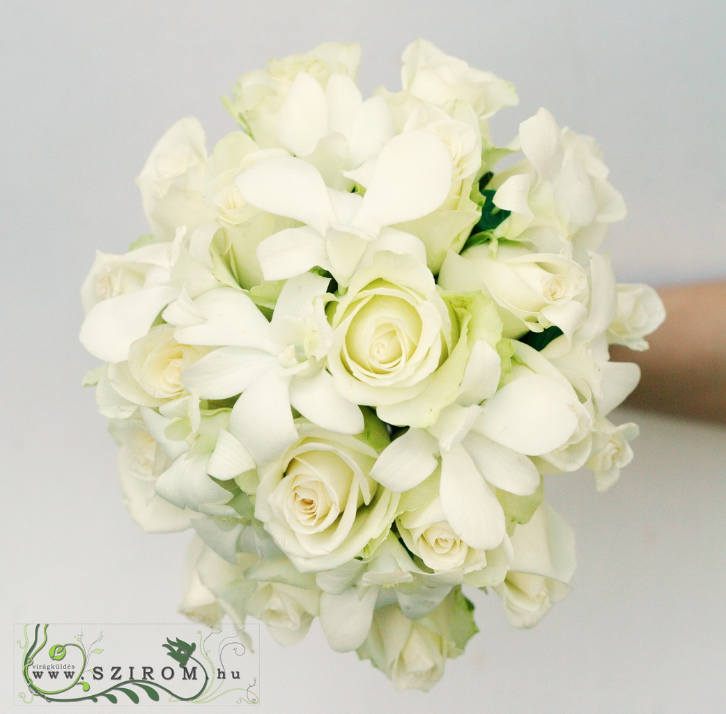 bridal bouquet (rose, dendrobium, white)