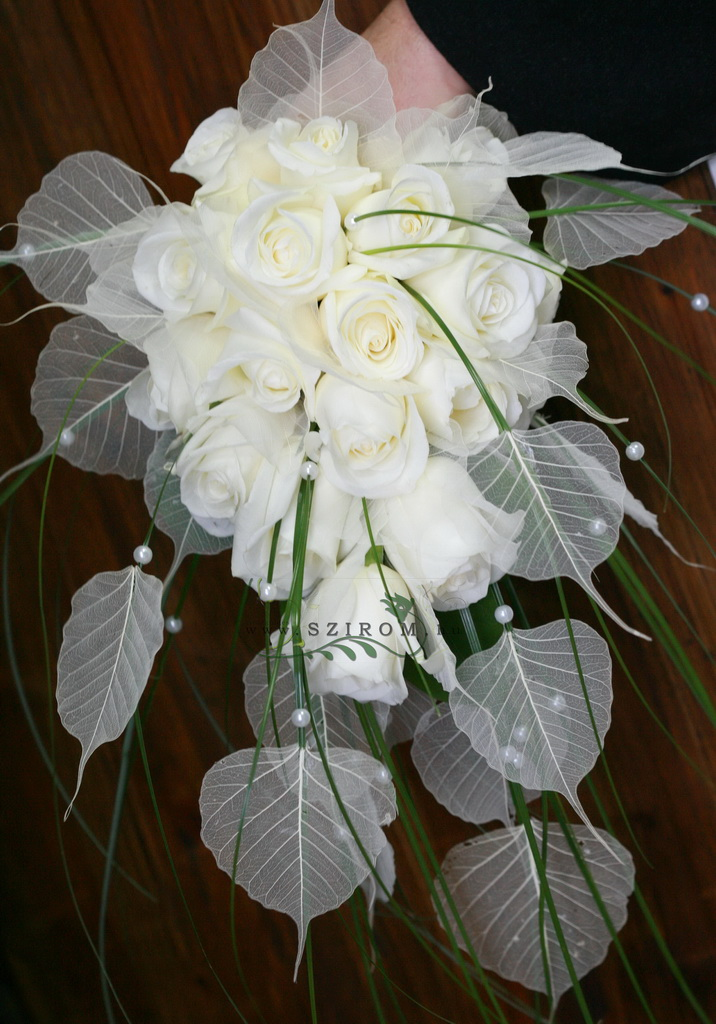 bridal bouquet (rose, transparent leaf, white)