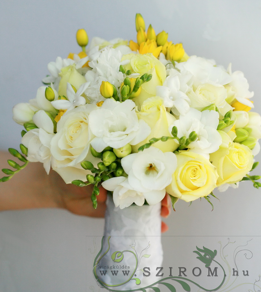 bridal bouquet (rose, freesia, white, yellow)