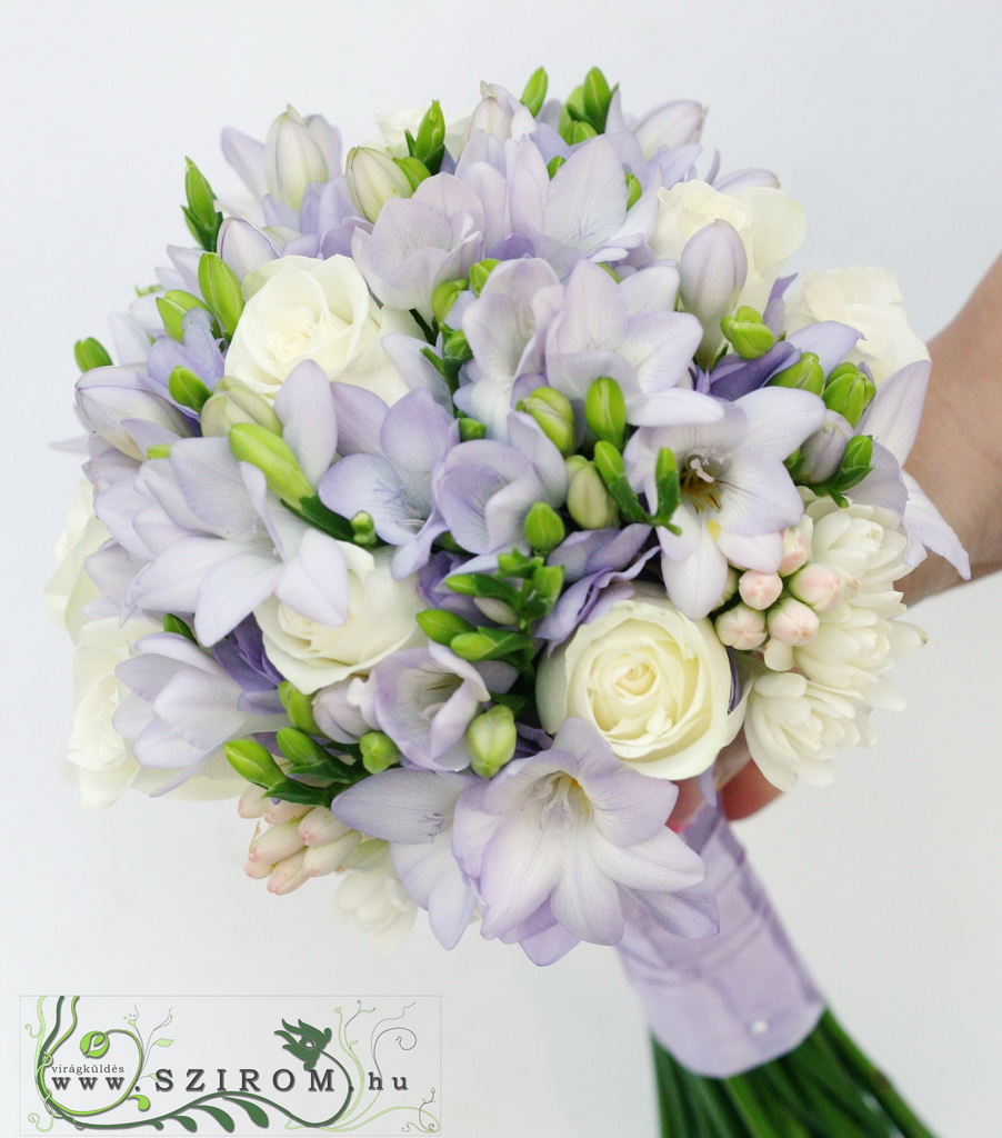 bridal bouquet (rose, freesia, purple, white)