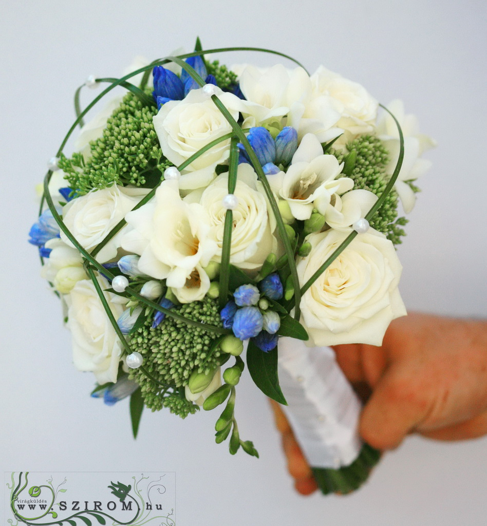 bridal bouquet (rose, freesia, entianthus, blue, white)