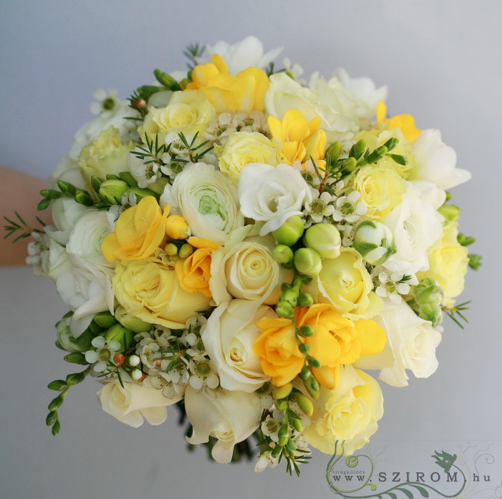 bridal bouquet (rose, freesia, wax, white, yellow)