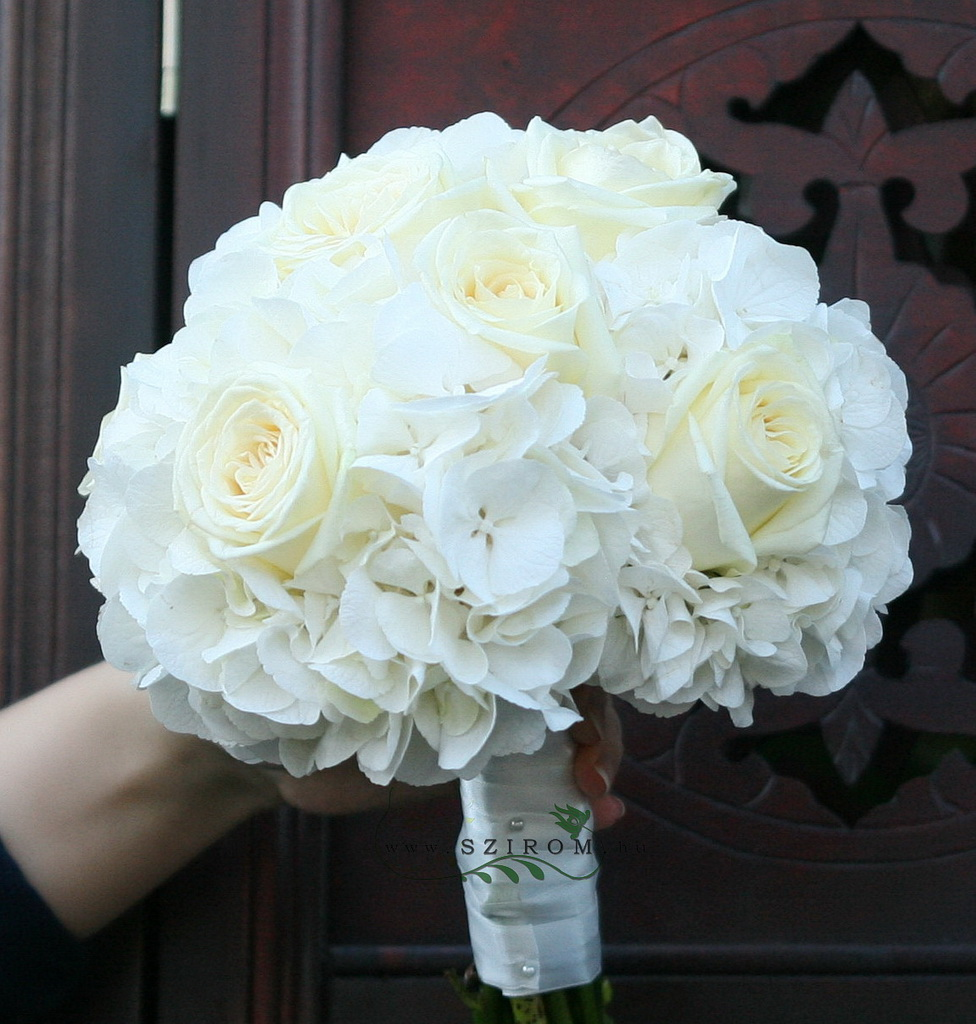 bridal bouquet (rose, hydrangea, white)