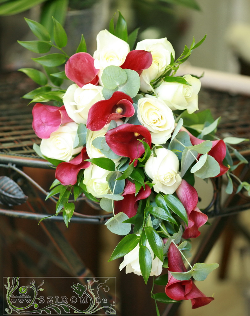 bridal bouquet (rose, calla, white, red)