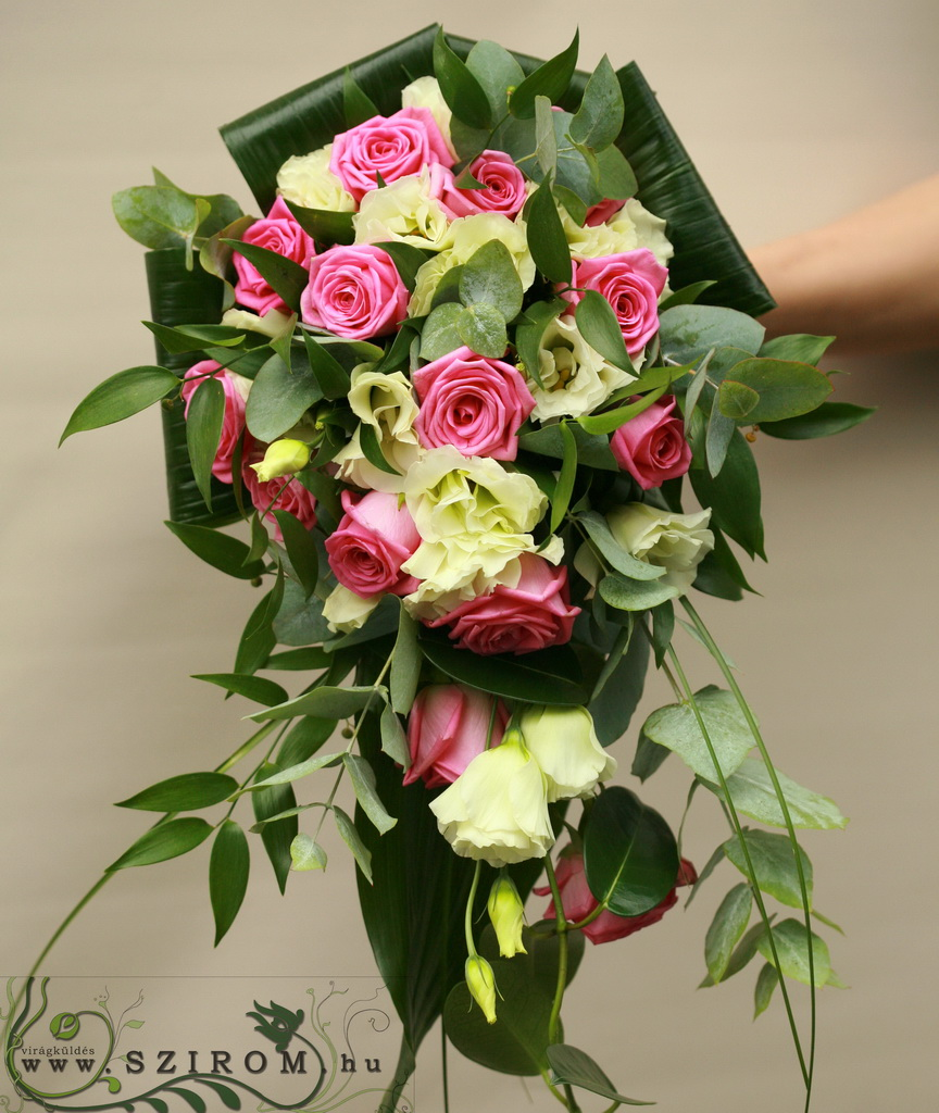 bridal bouquet (rose, lisianthus, white, pink)