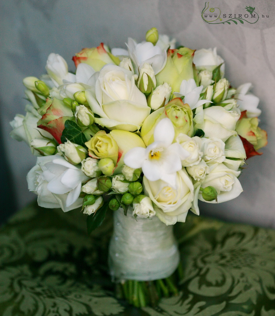 bridal bouquet (rose, spray rose, freesia, yellow, white, cream)