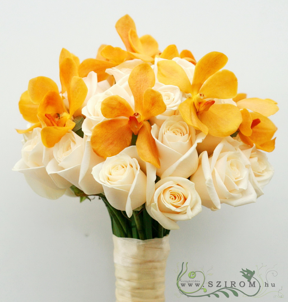 bridal bouquet (rose, mokara orchid, orange, cream)