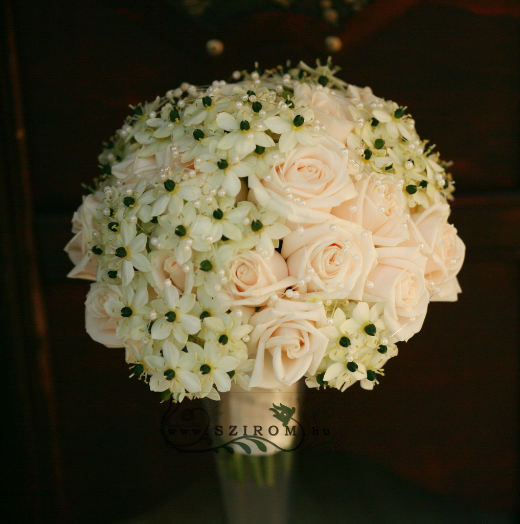 bridal bouquet (rose, ornithogalum, peah, white)