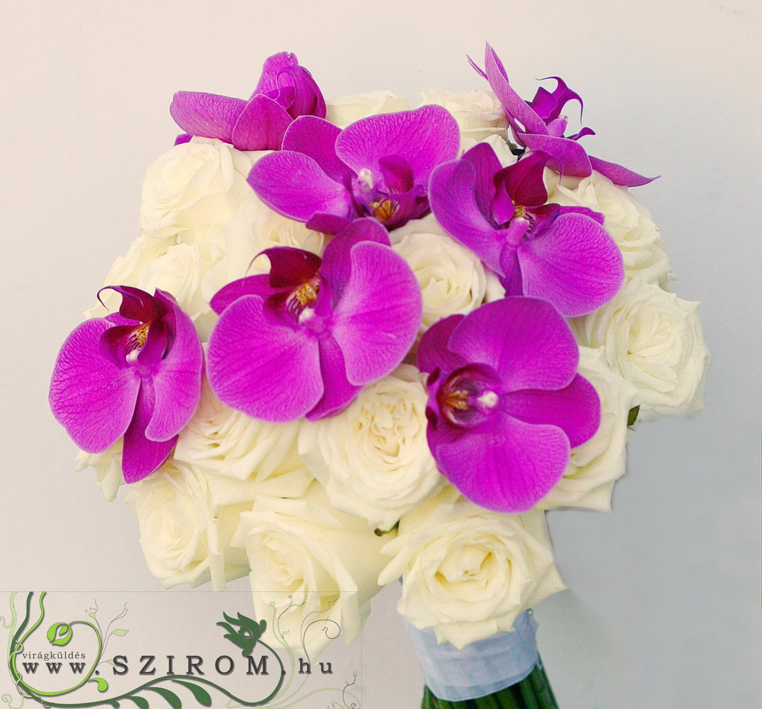bridal bouquet (rose, phalaenopsis, white, pink)