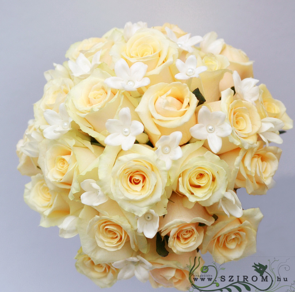 bridal bouquet (rose, stephanotis, peach, white)