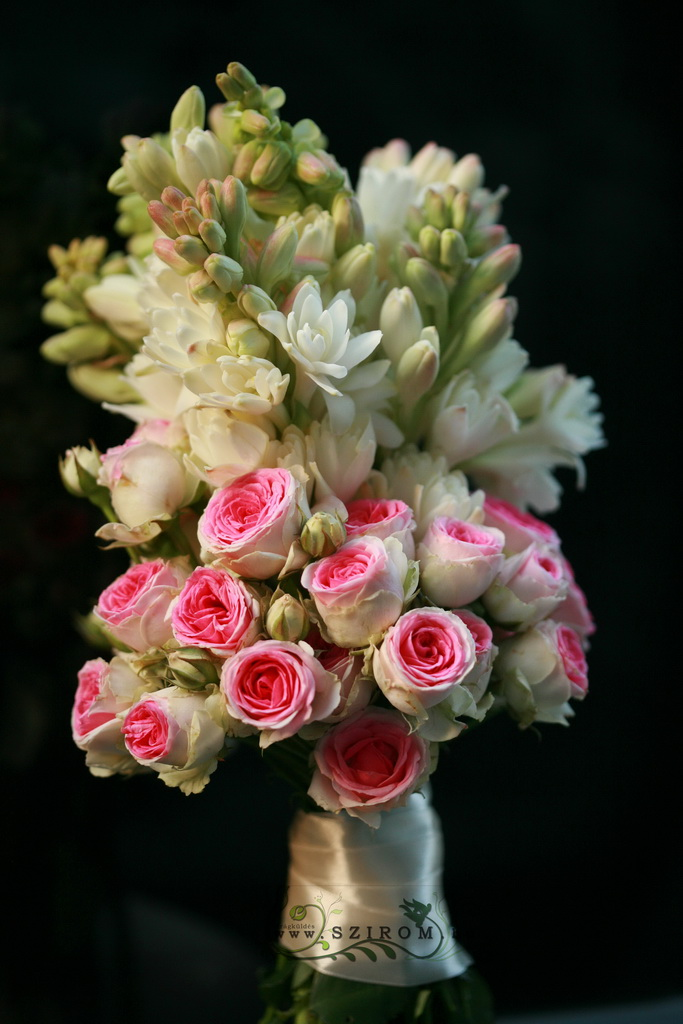 bridal bouquet (tuberose, english rose, white, pink)