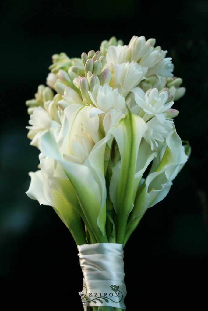 bridal bouquet (tuberose, calla, white)