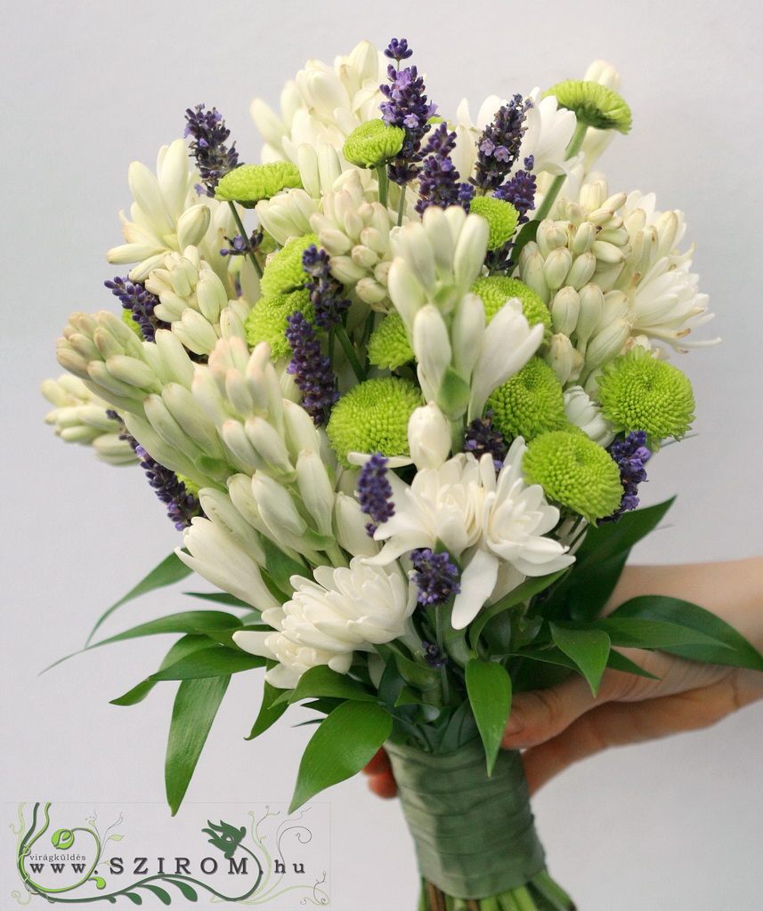 bridal bouquet (tuberose, lavender, button chrys, white, purple)