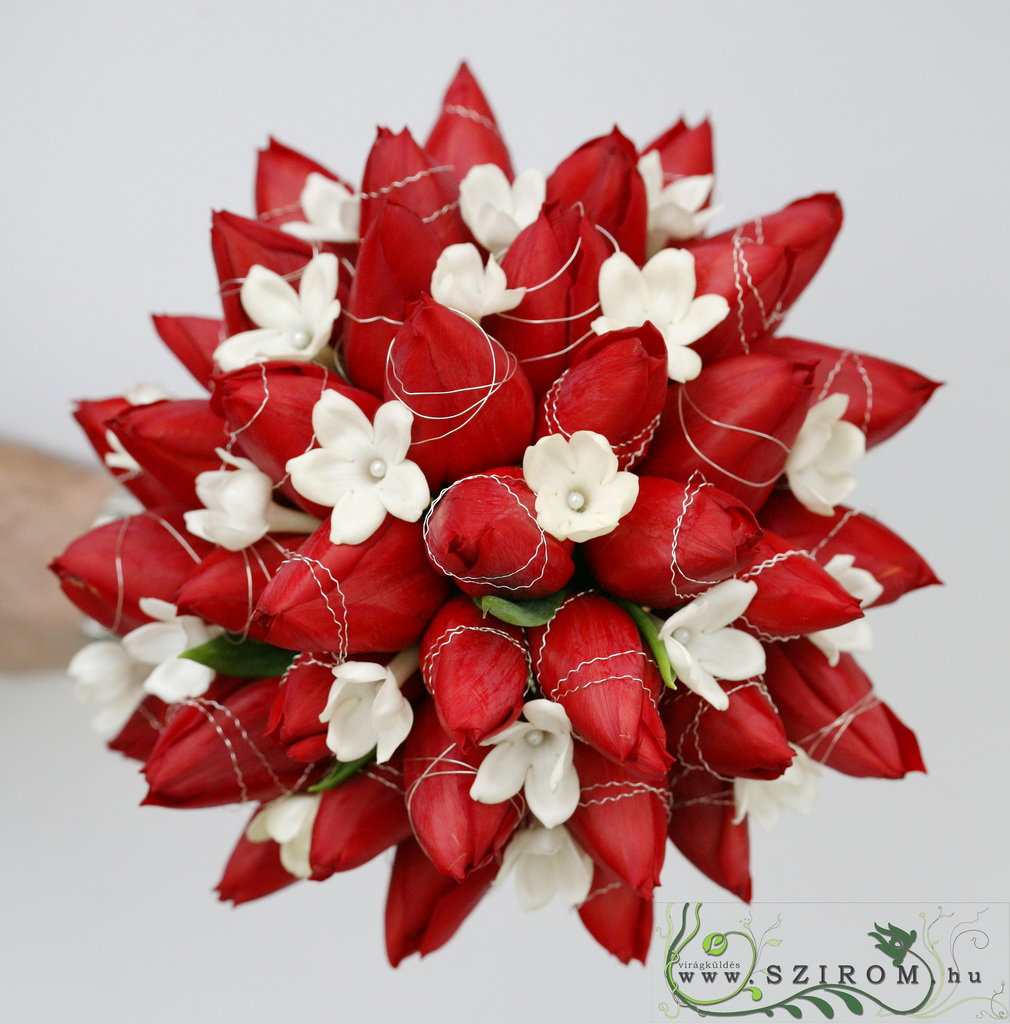 bridal bouquet (tulip, stephanotis, red)